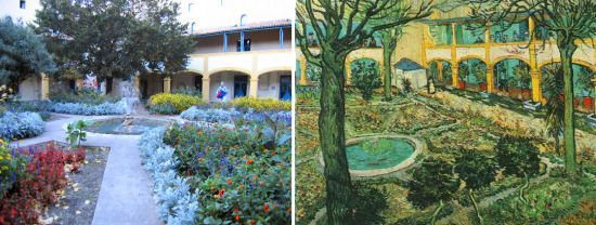 This image shows the courtyard of the Hospital at Arles as it is today and as Vincent painted it in 1889. – Photo by Rudi Schols