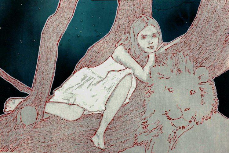 S - Roberta Savelli, Virginia + leone, 2014, oil on bandage  , 60x90 cm