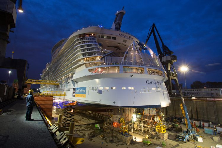 Oasis of the Seas in drydock in Rotterdam.