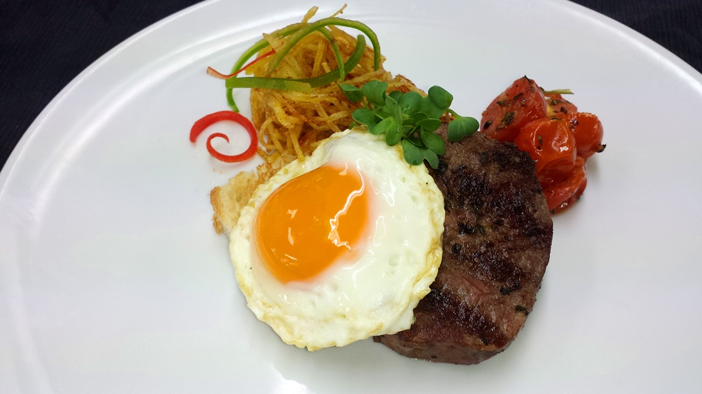11 Steak & Eggs, 4 oz Beef Fillet Roasted Cherry Tomatoes, Herbs de Provence, Sunny Side Up