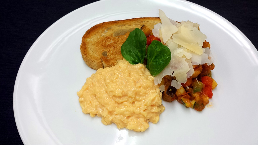 12 Mediterranean Ratatouille Toasts with Scrambled Egg and Basil