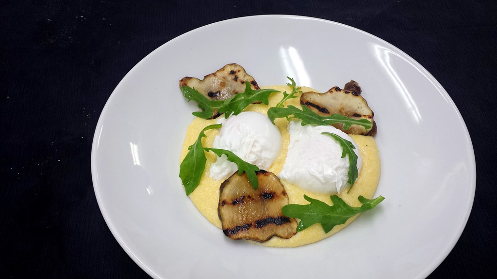 13 Poached Eggs with Sunchokes, French Comté Polenta and Arugula