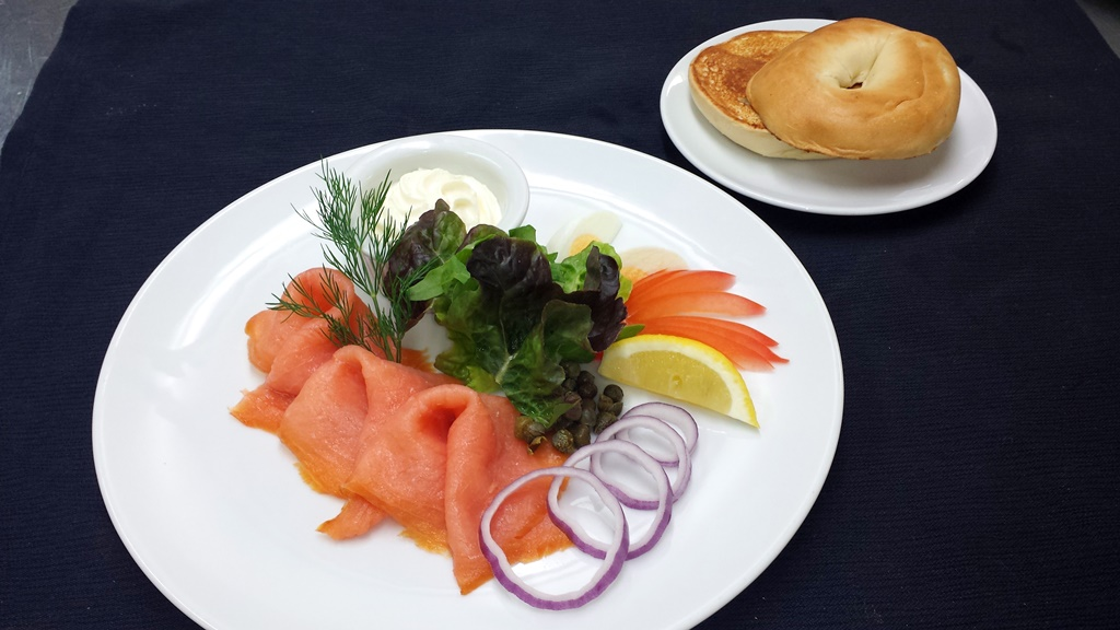 2 Smoked Salmon Thinly sliced and presented with Cream Cheese and a Toasted Bagel