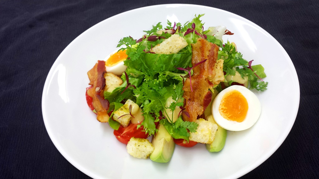 3 BLT Breakfast salad with soft boiled eggs and Avocado