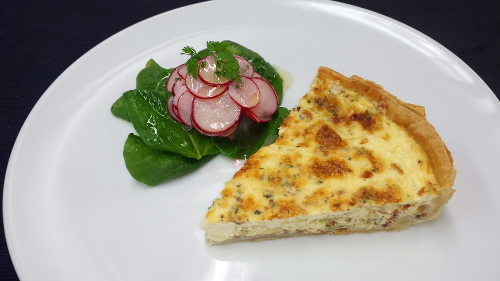 6 French Warm Bacon & Leek Quiche, Red Radish Salad